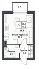 МЖК «Дубровка на Неве», планировка студии, 26.80 м²