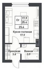 МЖК «Дубровка на Неве», планировка студии, 25.80 м²
