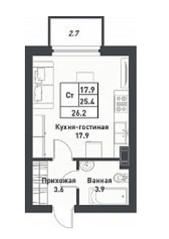МЖК «Дубровка на Неве», планировка студии, 26.20 м²