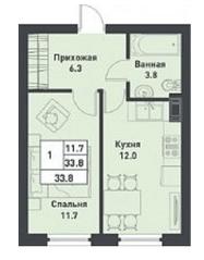 МЖК «Дубровка на Неве», планировка 1-комнатной квартиры, 33.80 м²