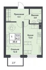 МЖК «Дубровка на Неве», планировка 1-комнатной квартиры, 35.00 м²