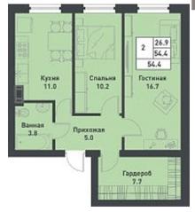 МЖК «Дубровка на Неве», планировка 2-комнатной квартиры, 54.40 м²