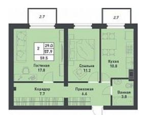 МЖК «Дубровка на Неве», планировка 2-комнатной квартиры, 59.50 м²