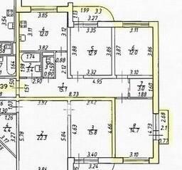 МЖК «Дубровка на Неве», планировка 3-комнатной квартиры, 76.10 м²