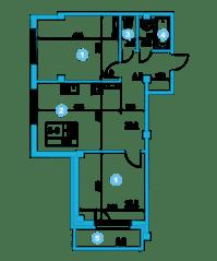 ЖК «O'Range», планировка 2-комнатной квартиры, 56.80 м²