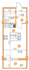 ЖК «O'Range», планировка студии, 26.60 м²