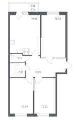 ЖК «Астрид», планировка 3-комнатной квартиры, 77.10 м²