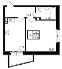 ЖК «Медем», планировка 1-комнатной квартиры, 40.71 м²
