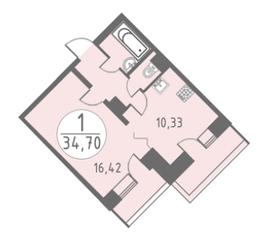 ЖК «Огни Колпино», планировка 1-комнатной квартиры, 34.70 м²