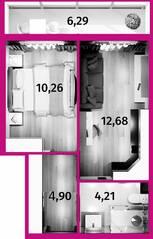 Апарт-отель «Avenue-Apart на Дыбенко», планировка 1-комнатной квартиры, 34.58 м²