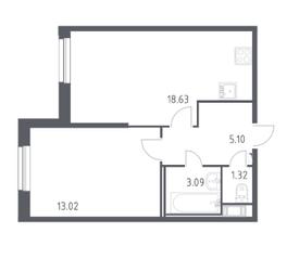 ЖК «Астрид», планировка 1-комнатной квартиры, 41.20 м²