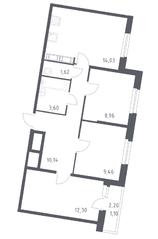 ЖК «Астрид», планировка 3-комнатной квартиры, 61.20 м²