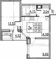 ЖК «ID Кудрово», планировка 2-комнатной квартиры, 47.25 м²