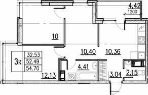 ЖК «ID Кудрово», планировка 3-комнатной квартиры, 54.70 м²