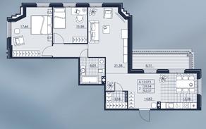 ЖК «Alter», планировка 2-комнатной квартиры, 92.07 м²