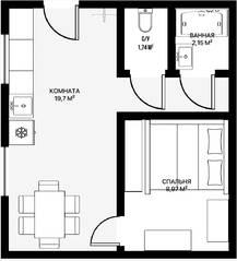 Апарт-отель «Морской бриз», планировка 1-комнатной квартиры, 35.00 м²