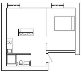 Апарт-отель «Морской бриз», планировка 1-комнатной квартиры, 37.00 м²