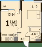 МЖК «Булатниково», планировка 1-комнатной квартиры, 33.37 м²