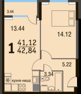 МЖК «Булатниково», планировка 1-комнатной квартиры, 42.84 м²