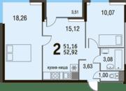 МЖК «Булатниково», планировка 2-комнатной квартиры, 52.92 м²