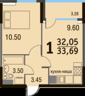 МЖК «Булатниково», планировка 1-комнатной квартиры, 33.69 м²
