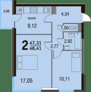 МЖК «Булатниково», планировка 2-комнатной квартиры, 48.41 м²