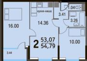 МЖК «Булатниково», планировка 2-комнатной квартиры, 54.79 м²