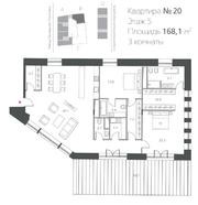 ЖК «Cloud Nine», планировка 3-комнатной квартиры, 168.10 м²