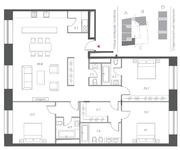 ЖК «Cloud Nine», планировка 4-комнатной квартиры, 159.00 м²