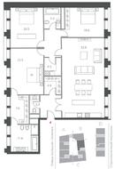 ЖК «Cloud Nine», планировка 4-комнатной квартиры, 165.60 м²