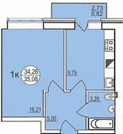 ЖК «Солнечный парус-2», планировка 1-комнатной квартиры, 35.10 м²
