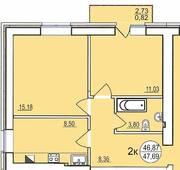 ЖК «Солнечный парус-2», планировка 2-комнатной квартиры, 47.70 м²