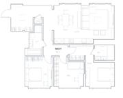 МФК «Residence Hall Шаболовский», планировка 3-комнатной квартиры, 101.71 м²