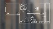 ЖК «Мир Митино», планировка 2-комнатной квартиры, 64.91 м²