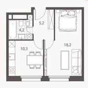 ЖК «Homecity», планировка 1-комнатной квартиры, 37.90 м²