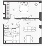 ЖК «Homecity», планировка 2-комнатной квартиры, 49.60 м²