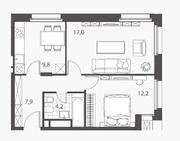 ЖК «Homecity», планировка 2-комнатной квартиры, 51.10 м²