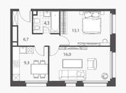 ЖК «Homecity», планировка 2-комнатной квартиры, 49.40 м²