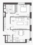 ЖК «Homecity», планировка 2-комнатной квартиры, 59.30 м²