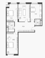 ЖК «Homecity», планировка 3-комнатной квартиры, 91.90 м²