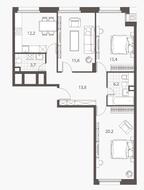 ЖК «Homecity», планировка 3-комнатной квартиры, 87.30 м²