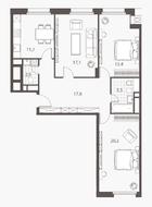 ЖК «Homecity», планировка 3-комнатной квартиры, 90.20 м²